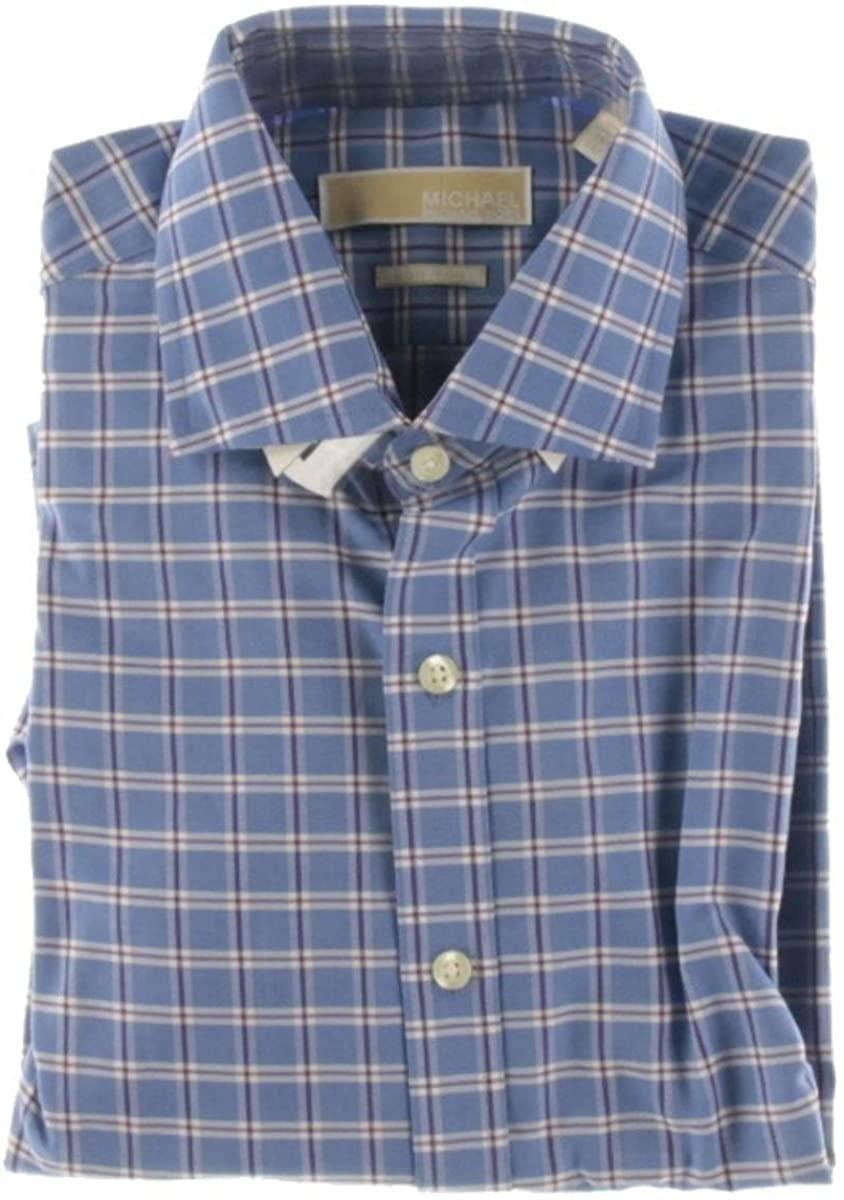 MICHAEL Michael Kors Mens Non Iron Checkered Dress Shirt Blue