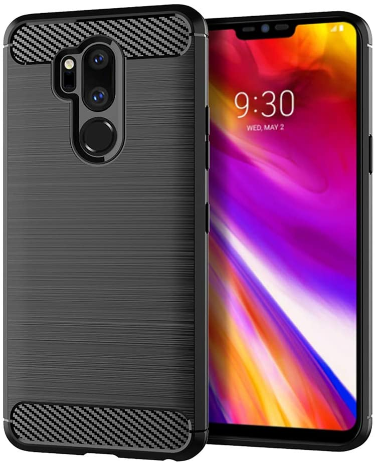 Phone Case for LG G7 ThinQ with Tempered Glass Screen Protector Slim Soft TPU Accessories Full Body Rugged Silicone Protective Cell Cover for LGG7 G 7 Plus LG7 Thin Q G7+ G7thinq Women Men