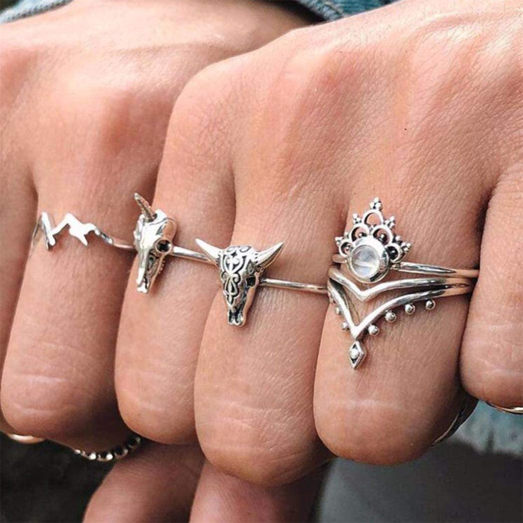 Eappy Boho Crown Joint Knuckle Rings Silver Animal Bone Stackable Mid Finger Ring Set Stylish Opal Rings Hand Jewelry for Women and Girls (4PCS)