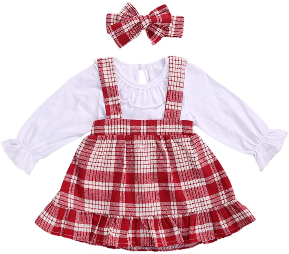 0-24 Months Baby Girls Christmas Outfits Ruffle Romper Jumpsuit and Red Plaid Suspender Strap Dress+Headband