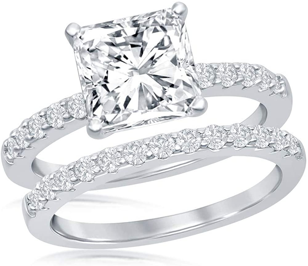 925 Sterling Silver Rhodium Plated High Polished Princess-Cut Cubic Zirconia with Half Band Engagement Bridal 2pc Ring Set