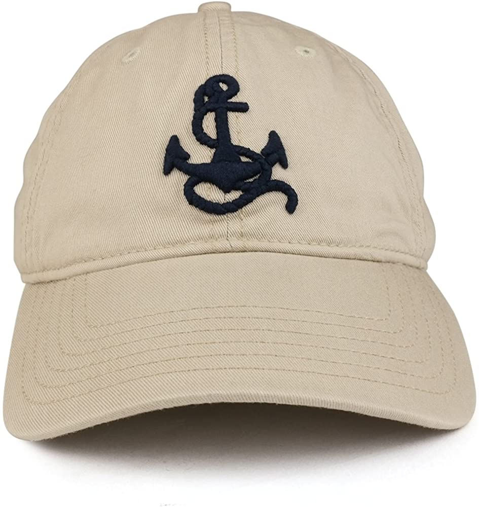 3D Anchor Embroidered Washed Twill Cotton Adjustable Baseball Cap