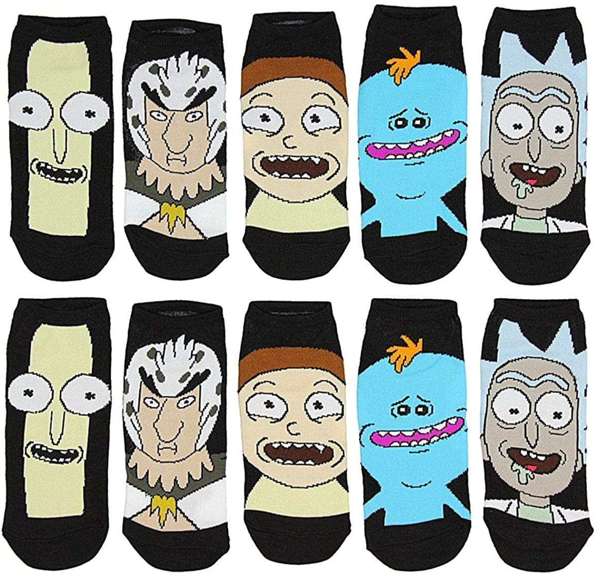 Rick And Morty Characters Women's 5 Pack Black Ankle Socks, Shoe Size 4-10
