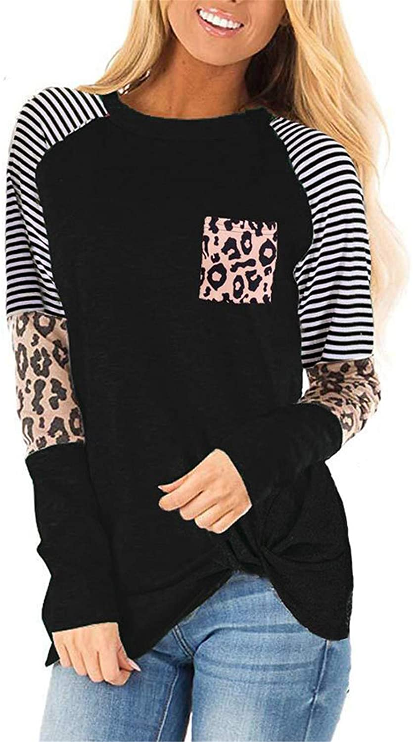 Poulax Women's Casual Knot T Shirts Leopard Color Block Long Sleeve Tie Dye Tunic Tops
