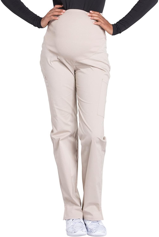 Cherokee Workwear Professionals Maternity Straight Leg Scrub Pant, L, Khaki