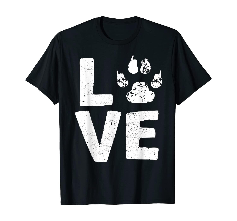 LOVE - Funny Paw Print T-Shirt Cool Dog Lover Tee T-Shirt