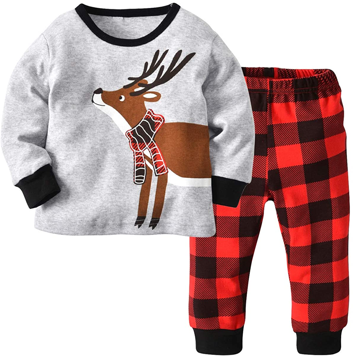 Kids Boys Girls Pajamas Set Long Sleeve Elk Tops+Stripe Pants Pjs Set