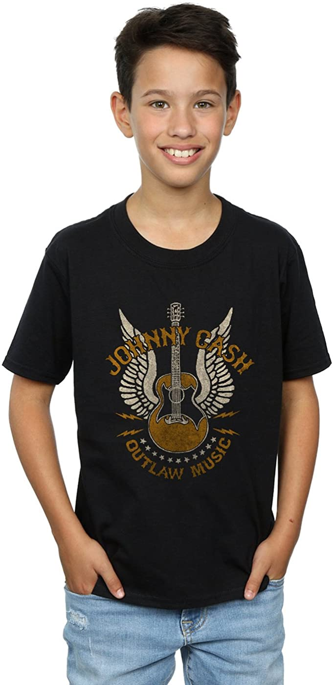 Johnny Cash Boys Outlaw Music T-Shirt Black 9-11 Years