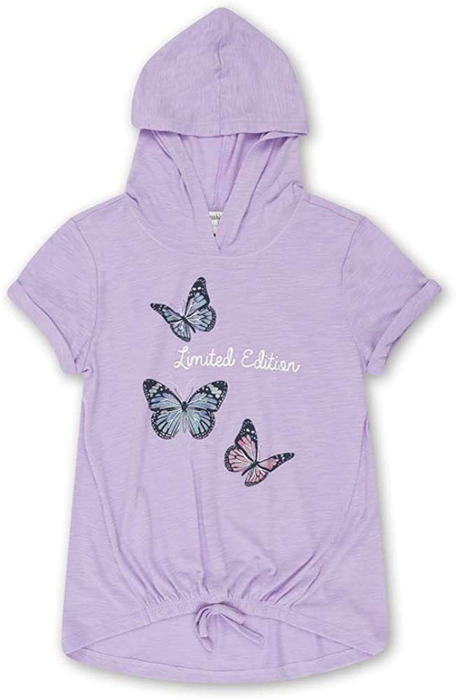 Speechless Girls' Big Hooded Short Sleeve Tie-Front Top