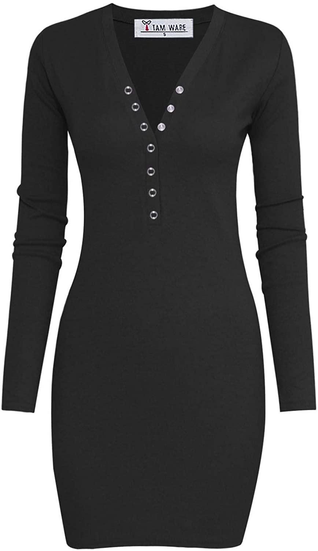 TAM WARE Women's Casual V Neck Long Sleeve Bodycon Sweater Mini Dress