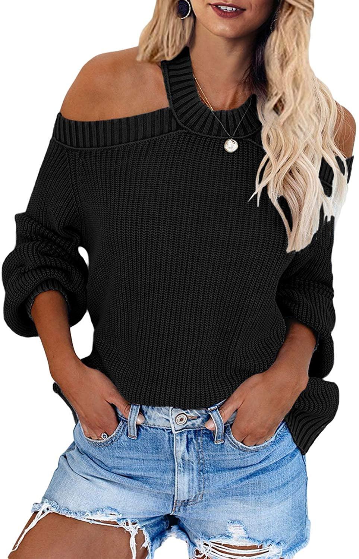Lovezesent Womens Cold Shoulder Halter Neck Backless Pullover Jumper Sweater Top