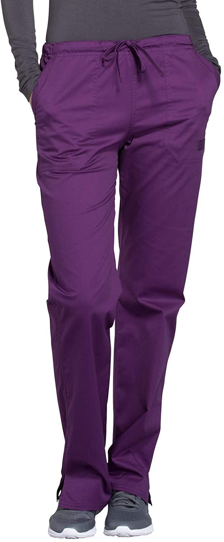 Cherokee Workwear Core Stretch Mid Rise Straight Leg Drawstring Scrub Pant, L, Eggplant