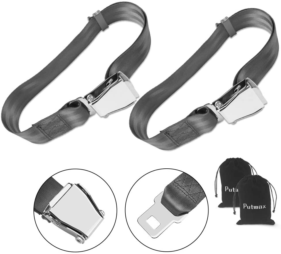 Airplane Seat Belt Extender, 2 Pack Adjustable Airline Seatbelt Extenders Universal FITS All Airlines (not Southwest), Free Carrying Case - Gray