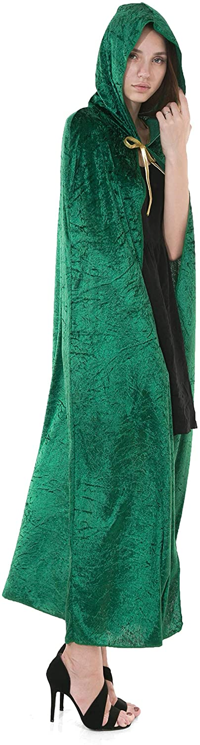 Spooktacular Creations Hooded Velvet Cloak Halloween Women Witch Cape Costume Accessory