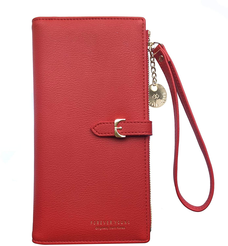 Black Sale Friday Cyber Deal Monday Deals Womens Long Wallet Wristlet RFID Blocking Wallet Clutch Phone Bag Purse Handbag Zipper Phone Pocket Card Holder Travel Wallet Case for Women