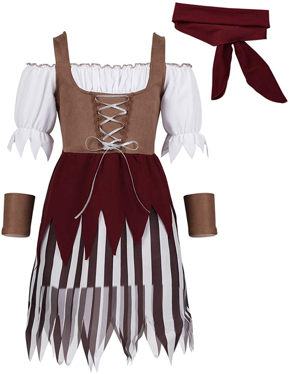 JanJean Little Big Girls Halloween Pirate Cosplay Costume High Seas Pirate Princess Role Play Fancy Dress Carnival Outfit