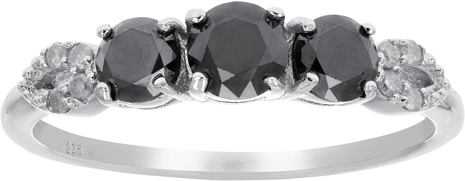 1 cttw 3 Stone Black Diamond Ring with Pear Design .925 Sterling Silver Rhodium
