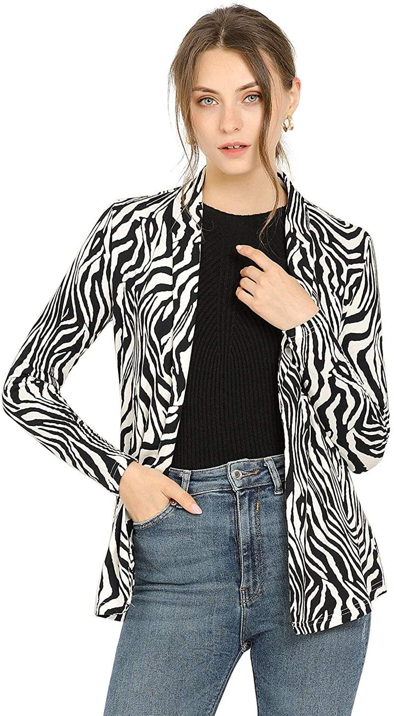 Allegra K Women's Fall Work Elegant Long Sleeves Shawl Collar Open Front Straight Knit Zebra Print Cardigan