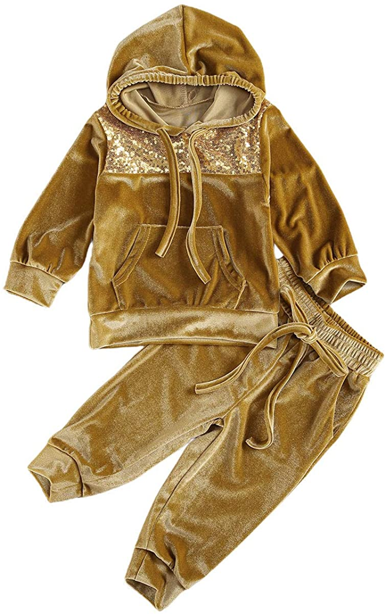 Toddler Baby Girl Fall Winter Outfit Velvet Clothes Long Sleeve Sequin Hoodie Sweatshirt Top Pants 2PCS Clothes Set 1-6T