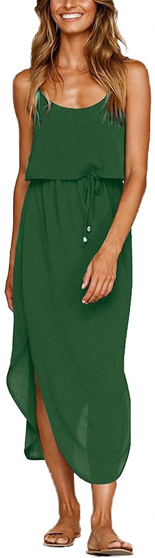 Yidarton Women's Summer Casual Dress Adjustable Strappy Split Floral Midi Beach Dress
