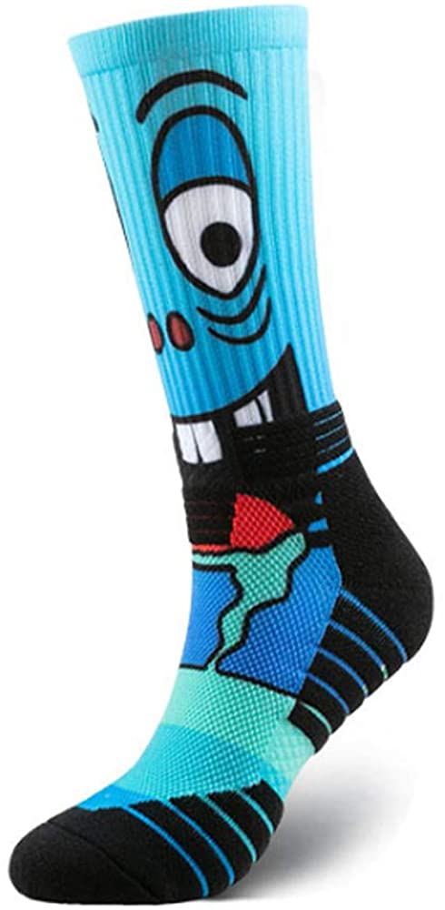 Mens Fun Funky Colorful Patterned Sports Socks Cushioned with Anime Cool Crazy Design Crew Socks