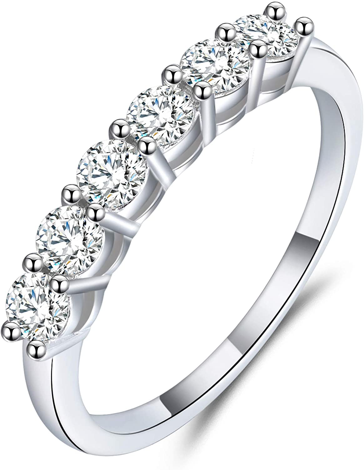 GEM DE LUXE 6 Stone 0.6ct with D Color Platinum Plated Silver Plating 18k White Gold Moissanite Wedding Bands for Women VVS1 Clarity Excellent Cut 2.2mm Band Jewelry Gifts