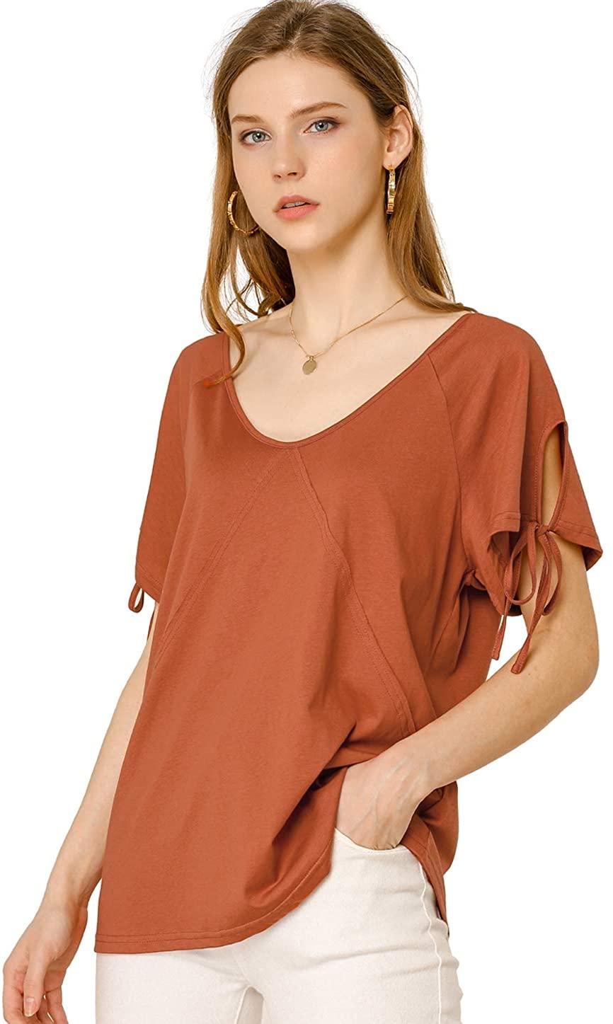 Allegra K Women's V Neck Raglan Short Sleeve Top Cotton Loose T-Shirts