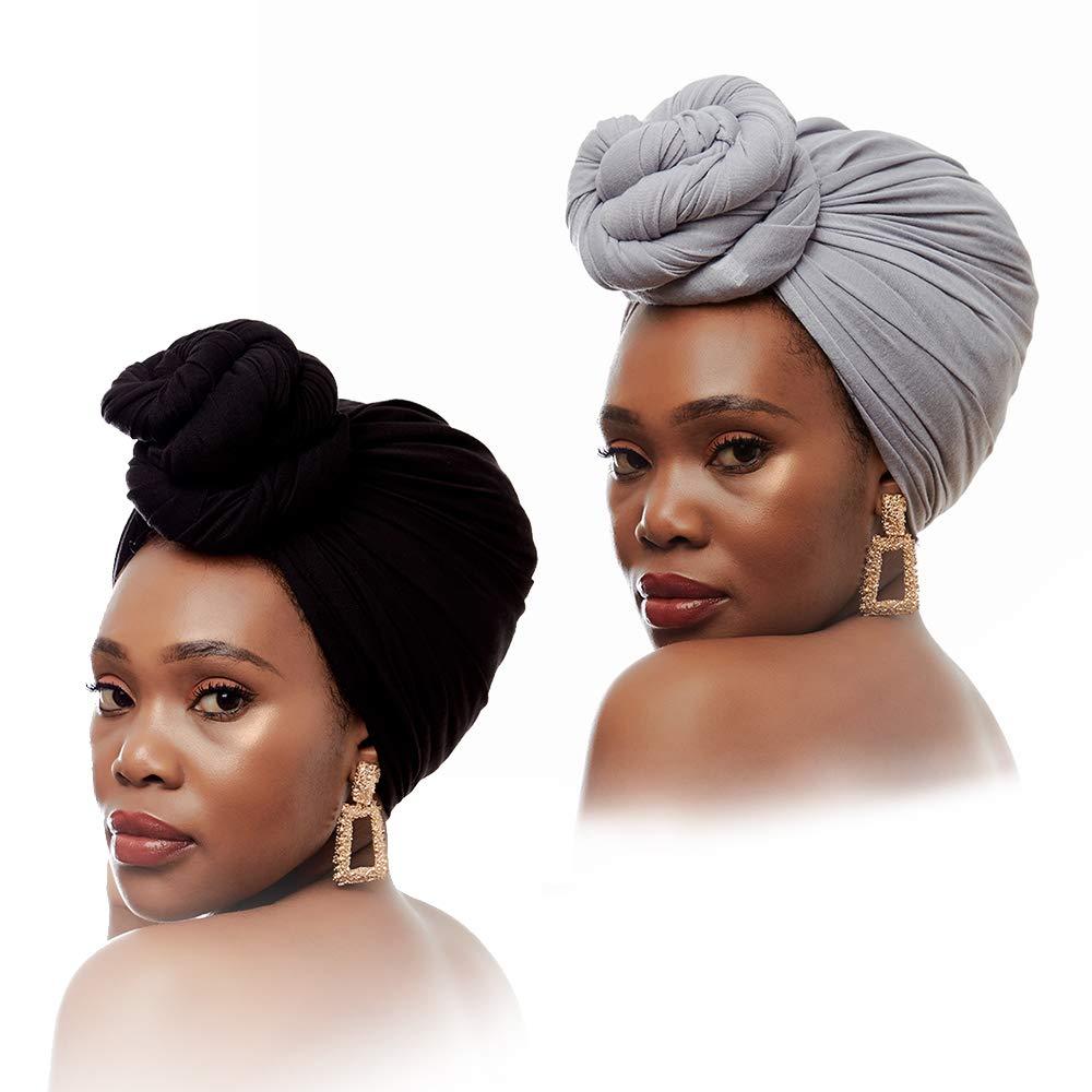 Long Stretch Head Wrap Jersey Hijab Scarf Muslim Head Scarves for Women (2PCS Black+Grey))