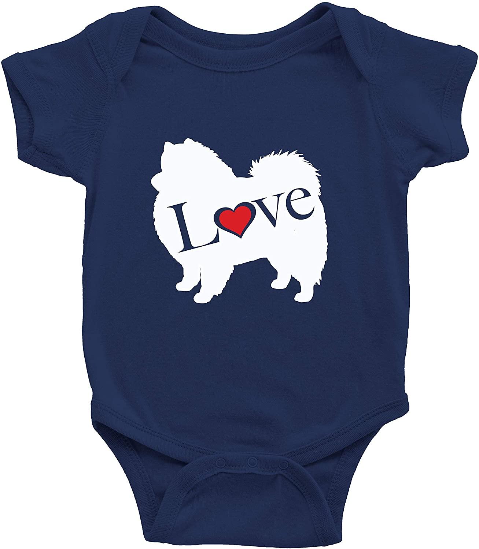I Love Pomeranian Pom Infant Baby Clothes Bodysuits Jumpsuit Romper Babysuit