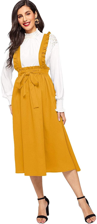 SheIn Women's Basic High Waist Flared Pinafore Suspender Skirt Overall Dresses