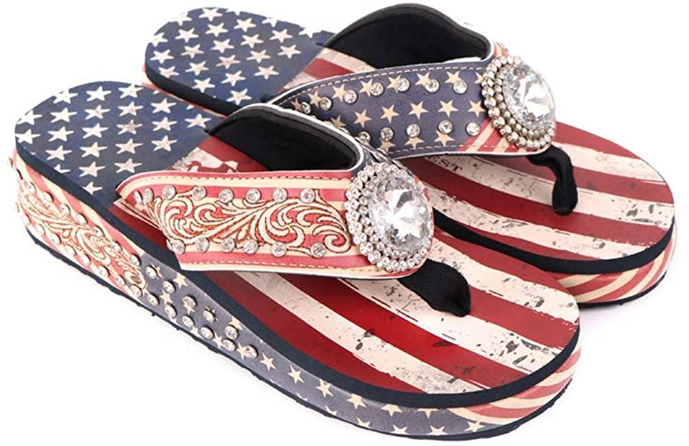 Montana West Wedge Flip Flops for Women Mandala Western Bling Bling Comfort Summer Sandals