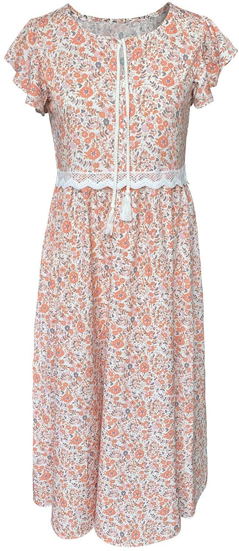 Women's Flying Sleeve Floral Print Retro Drawstring Neck Bohemian Long Dresses Lace High Waist Maxi Dress