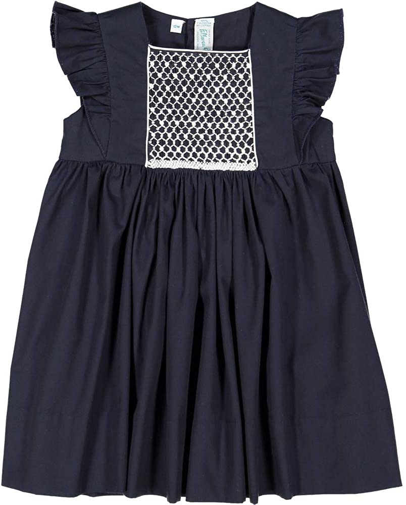 Feltman Brothers Girl's Navy Smocked Flutter Sleeve Dress