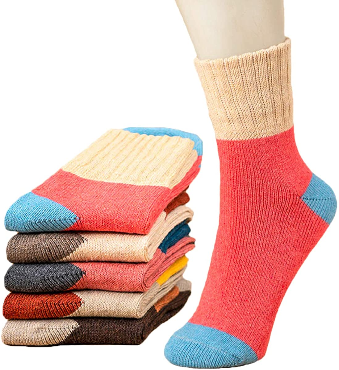 YZKKE 5 Pairs Womens Knit Warm Casual Wool Crew Winter Socks Gifts