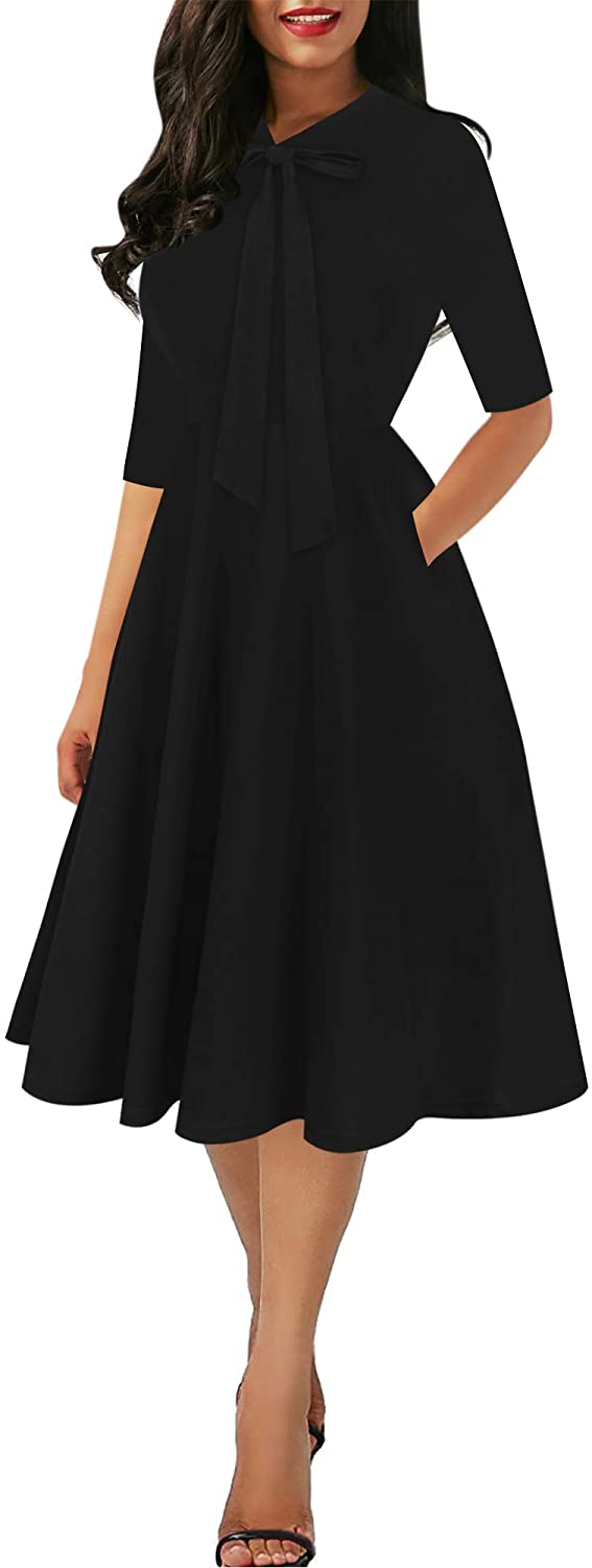 oxiuly Women's Chic Bow Tie V Neck Pockets Work Midi Dress Elegant A-Line Cocktail Party Dresses OX378