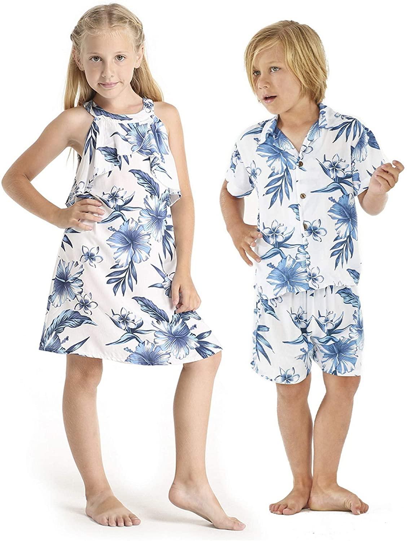 Matching Boy and Girl Siblings Hawaiian Luau Outfits in Bloom
