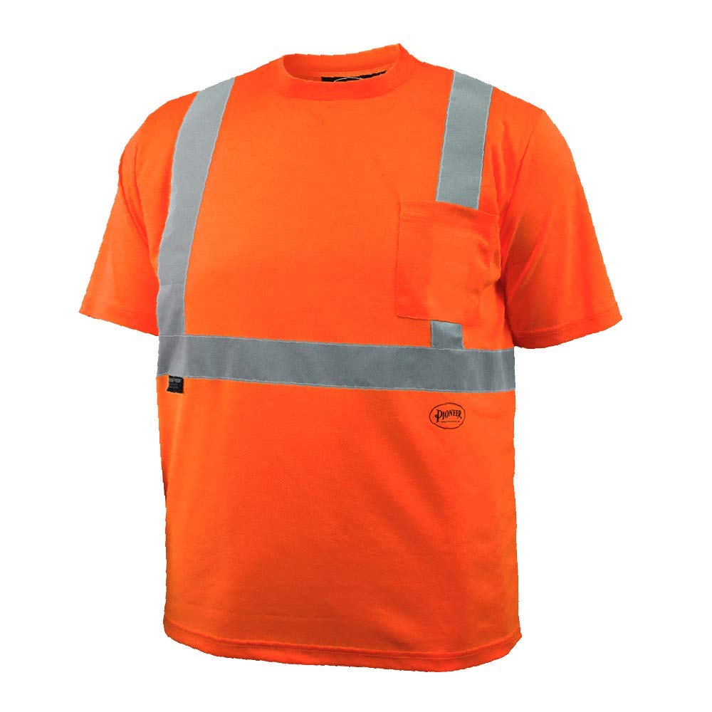 Pioneer Hi Vis Safety T Shirt for Men - Long Sleeve with Pocket- Reflective Tape for ANSI Class 3 Work - High-Visibility T-Shirt – Dry Wick, Lightweight Tee – Orange or Yellow/Green