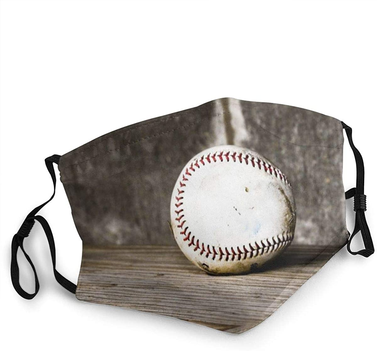 A Baseball With Fire Baseball Lover Face Mask Filter Dustproof Face Mask Wristband,Breathable, Easy To Use Outdoors Black