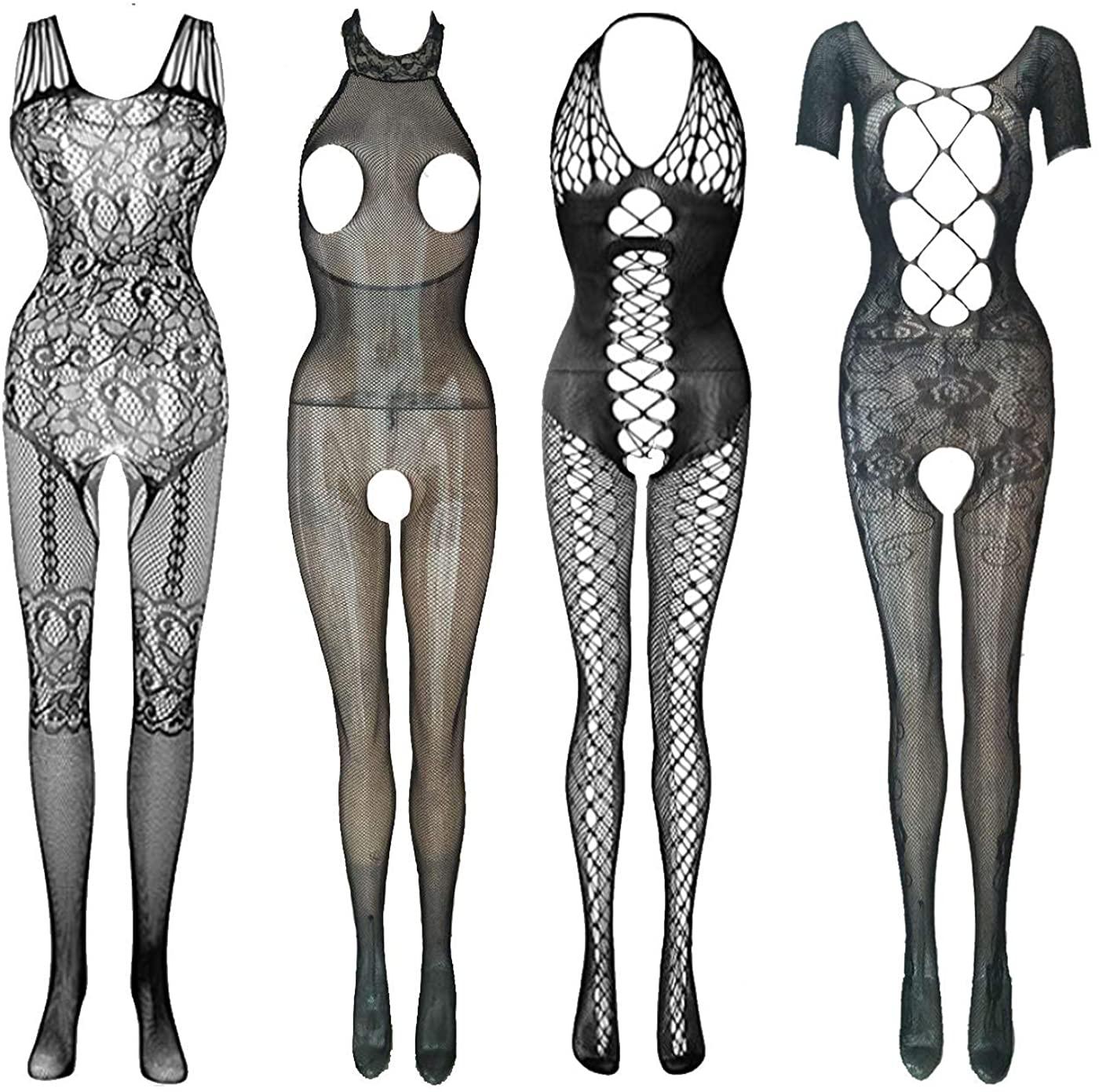 4 pcs Fishnet Bodysuit Women's Lace Stockings Lingerie Floral Fishnet Bodysuits Lingerie Nightwear for Romantic Date Wearing