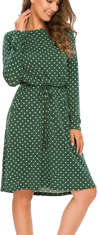 Timathous Womens Long Sleeve Casual Elastic Waist Dresses Midi Dress with Pockets