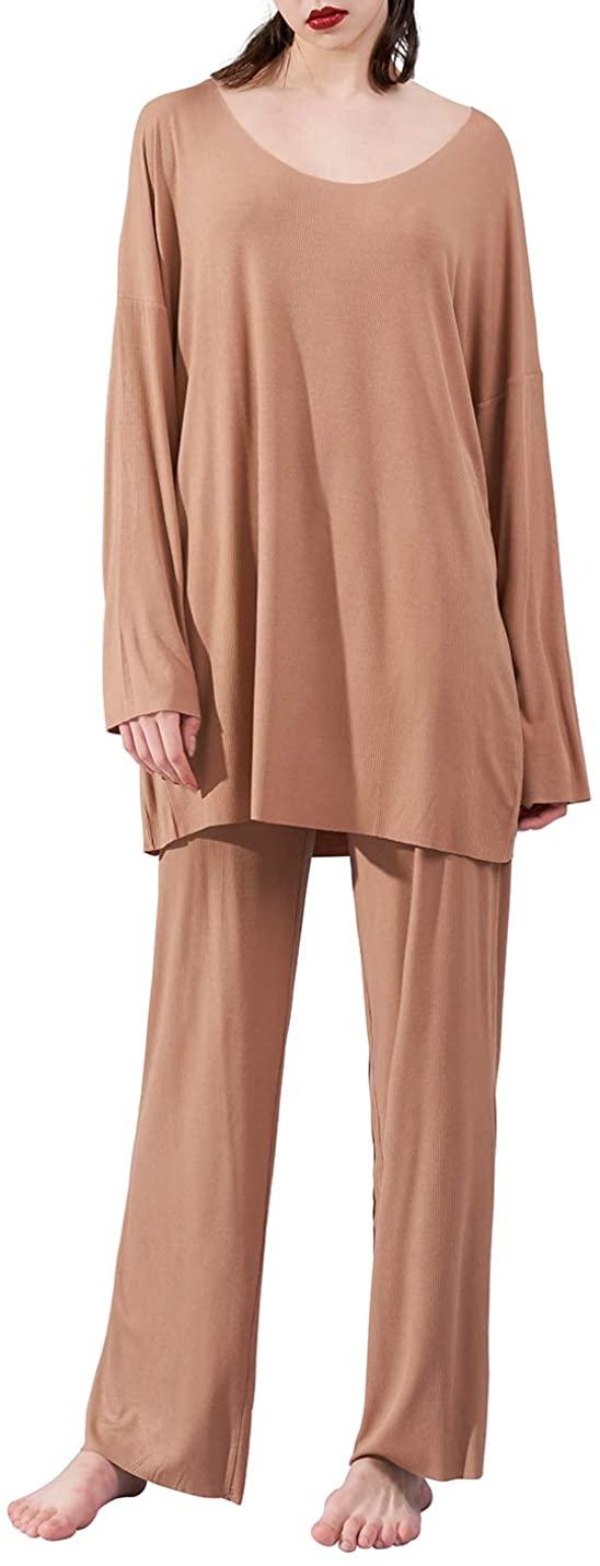 Aflowyii Pajamas Set Sleepwear Women Nightwear Modal O-Neck Loungewear Loose Fit
