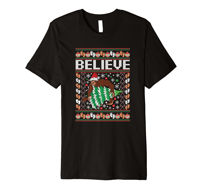 Bigfoot Ugly Christmas Funny Holiday Believe Sasquatch Xmas Premium T-Shirt
