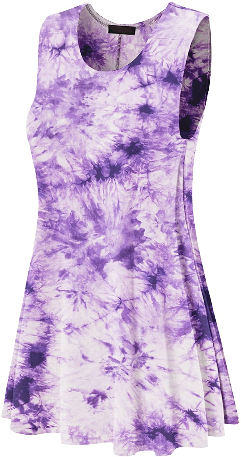 MBJ Womens Tie Dye Round Neck Sleeveless Trapeze Dress Tunic Top - Made in USA