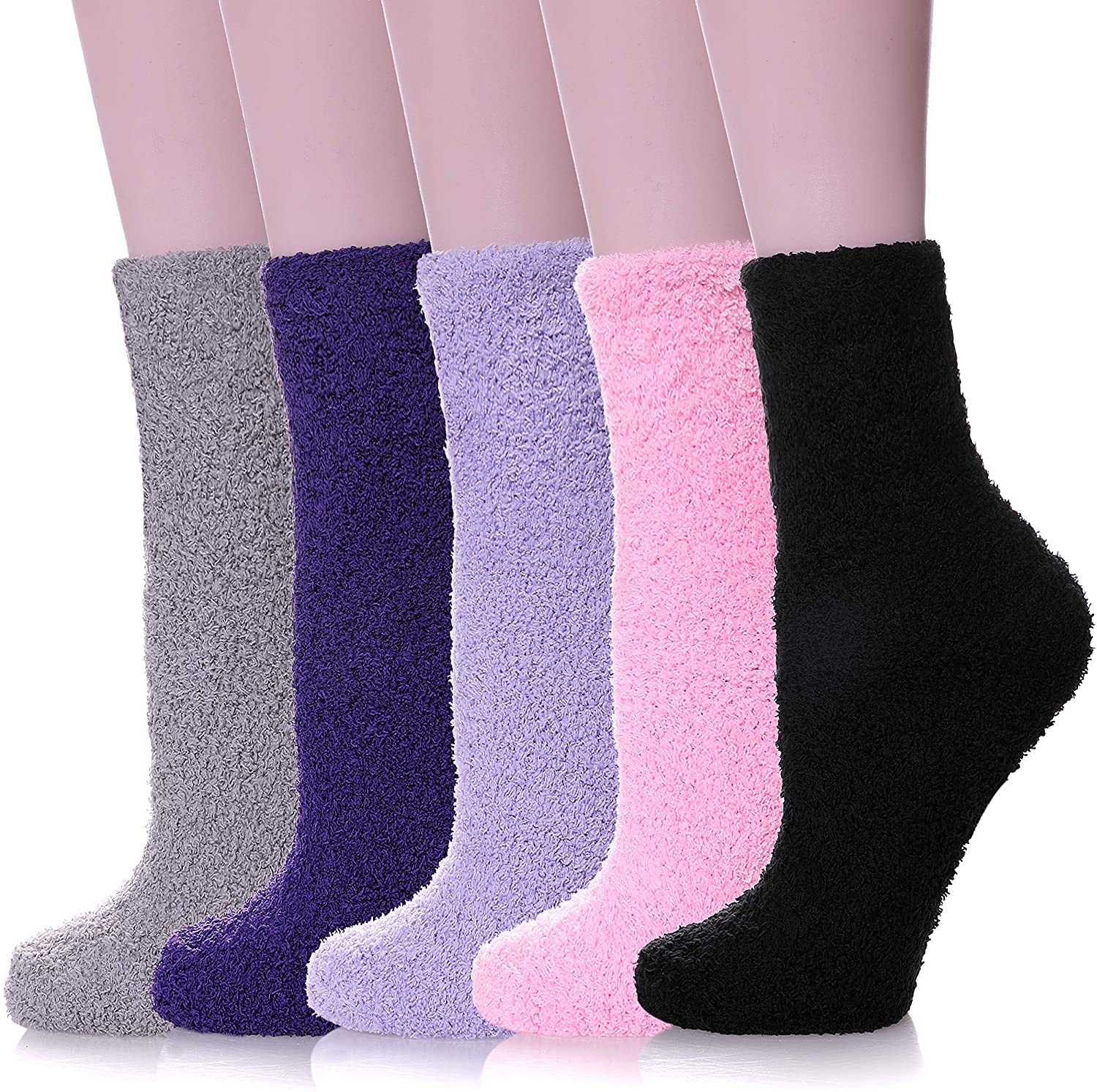 NOCIN COLOR Womens Fuzzy Slipper Socks Microfiber Soft Warm Cute Cozy Fluffy Winter Christmas Slipper Socks