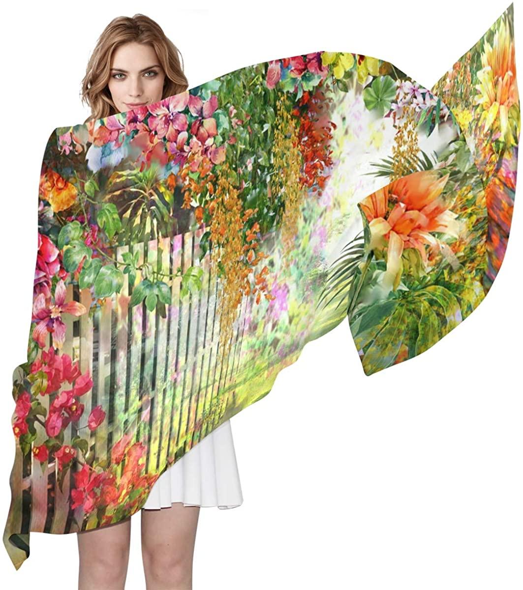 EELa Long Scarf Women Polyester Lightweight Soft Printed Flowers Fashion Wrap Shawl Spring Winter 70x35in