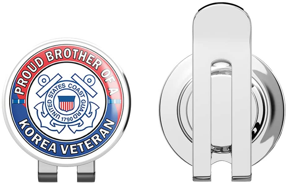US Coast Guard Proud Brother of a Korea Veteran Golf Hat Clip with Magnetic Ball Marker