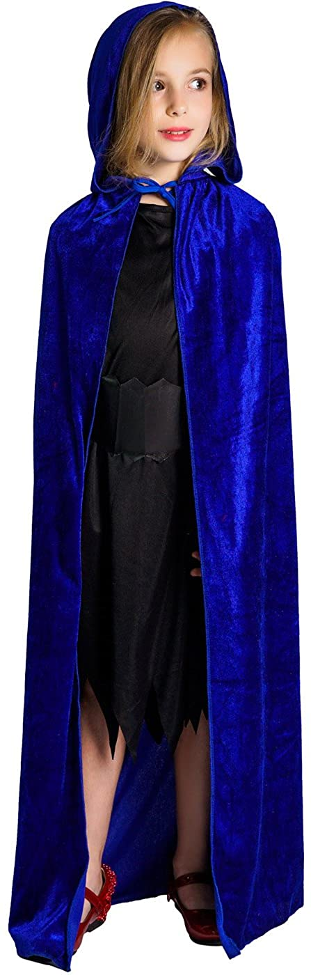 flatwhite Girl's Full Length Crushed Velvet Hooded Cape Costumes 57.48in