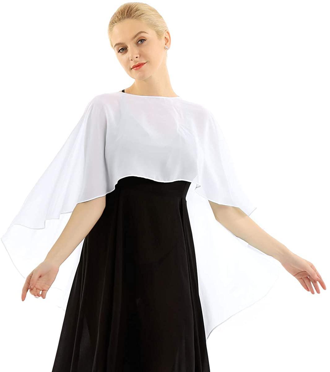 YiZYiF Women's Chiffon Scarves High-Low Wraps Cover Up Wedding Bridal Capelet Evening Shawls