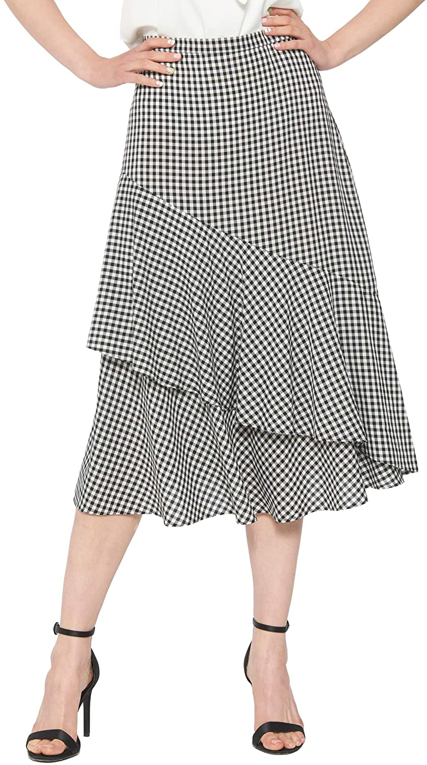May You Be Women's High Waist Flowy Gingham Check Tiered Ruffle Midi Skirt