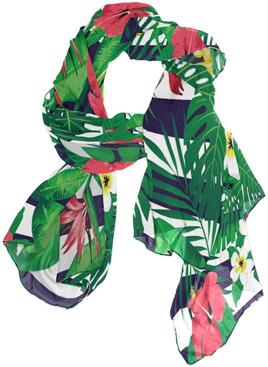 Use4 Tropical Flower Leaf Striped Chiffon Silk Long Scarf Shawl Wrap